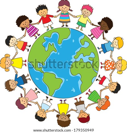 happy children holding hand - stock photo