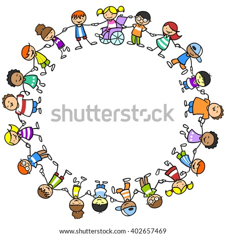 Happy children holding hands with girl in wheelchair exercising inclusion - stock photo