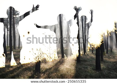 Happy children in nature at sunset double exposure - stock photo