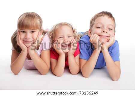 Happy children isolated on a white background - stock photo