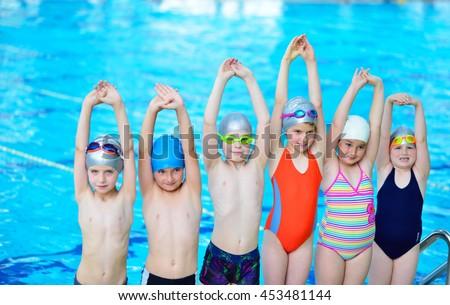 Happy Children Kids Group Swimming Pool Stock Photo 453481144 Shutterstock
