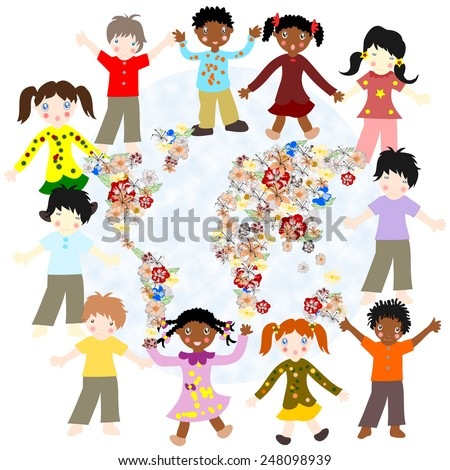 Happy children of different races around the world blooming card on a white background - stock photo