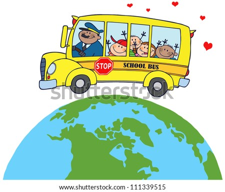 Happy Children On School Bus Around Earth. Raster Illustration.Vector version also available in portfolio. - stock photo