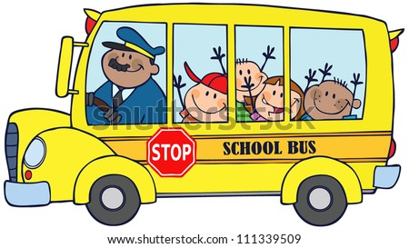 Happy Children On School Bus. Raster Illustration.Vector version also available in portfolio. - stock photo