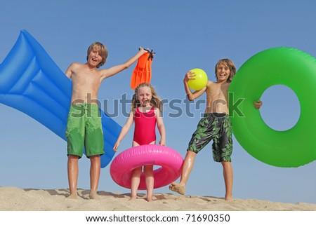 happy children on vacations - stock photo