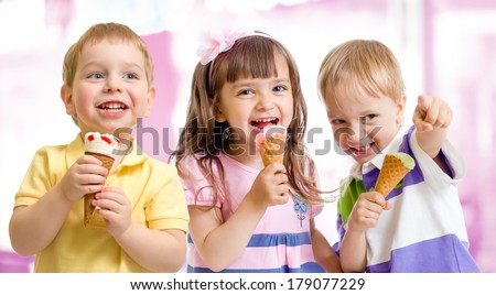 happy children or kids group with ice cream - stock photo