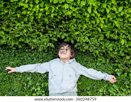 Happy children outdoor in nature - stock photo