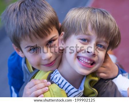 happy children outside - stock photo