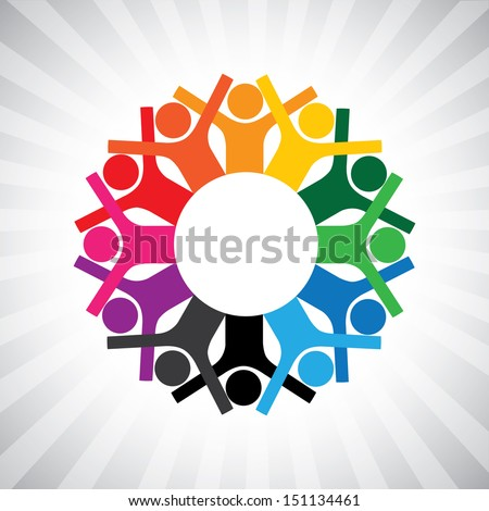 happy children playing in circle holding hands- simple graphic. This illustration can also represent employee diversity, executives or staff meeting, united collaborative workers, etc - stock photo