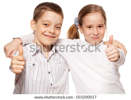 Happy children showing OK isolated on white background. Kids show thumbs up