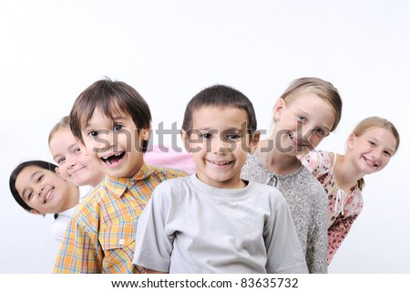 happy children together outdoor, faces, - stock photo
