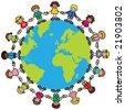 Happy children (variety of skintones) holding hands around the world - stock photo