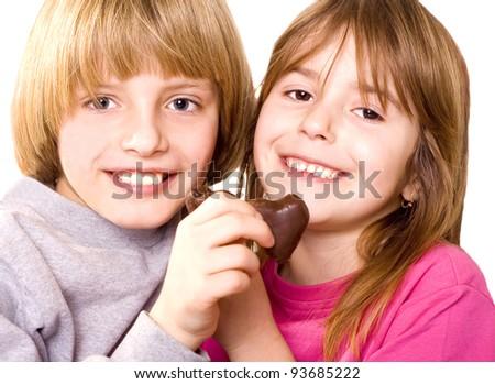 happy children with chocolate - stock photo