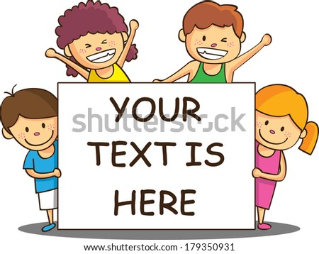 happy children with copy space - stock photo