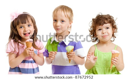 happy children with ice cream in studio isolated