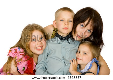 Happy children with mother on an isolated background - stock photo