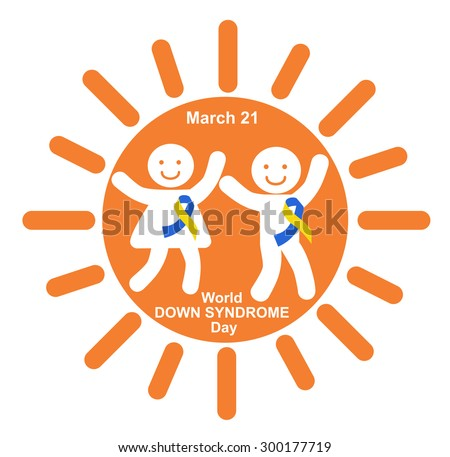Happy children with ribbons symbolizing Down syndrome - stock photo