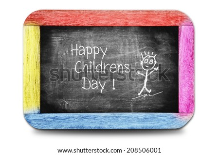 Happy childrens day! Hand writing text on chalkboard. - stock photo