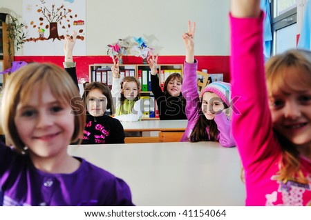 happy childrens group in school have fun - stock photo