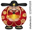 Happy Chinese Lunar New Year Prosperity Money God Holding Gold Bar Illustration Isolated on White Background Raster - stock photo
