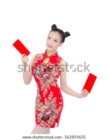 happy chinese new year asian girl with gesture of and holding red envelope on