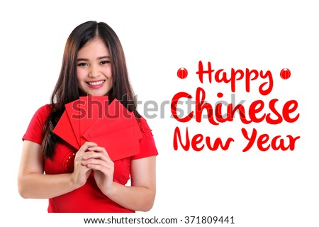 Happy Chinese New Year background design with image of cute smiling Asian girl holding red envelopes, isolated on white