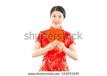 happy chinese new year background design with image of smiling asian girl holding red envelopes. isolated on white background. mixed race asian chinese model.