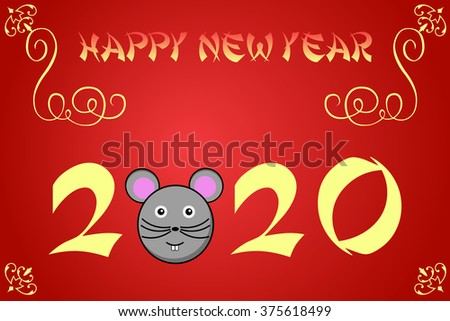 Happy chinese new year card illustration for 2020, the rat - stock photo