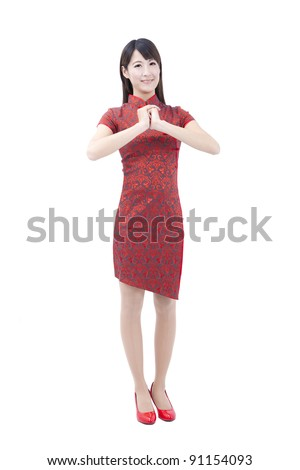 happy chinese new year.young asian woman  with gesture of congratulation - stock photo