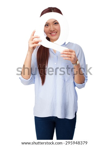 happy chinese woman with q letter