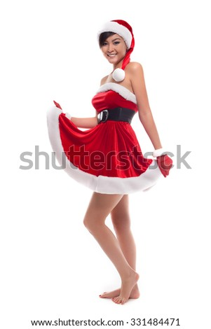 Happy Christmas asian  girl, isolated over white - stock photo
