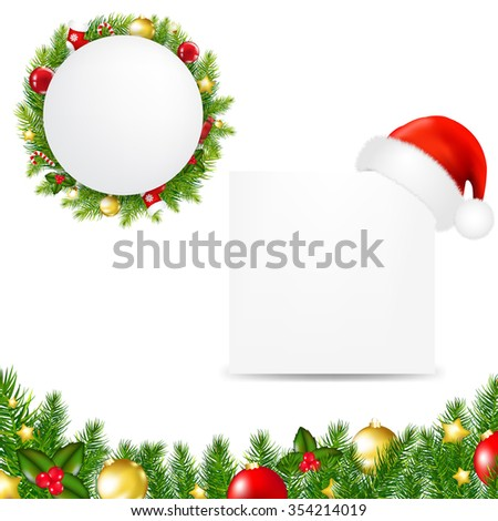Happy Christmas Banner With Santa Hat  - stock photo