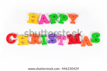 Happy christmas colorful text on a white background