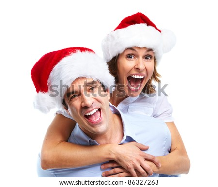 Happy christmas couple. Isolated over white background.