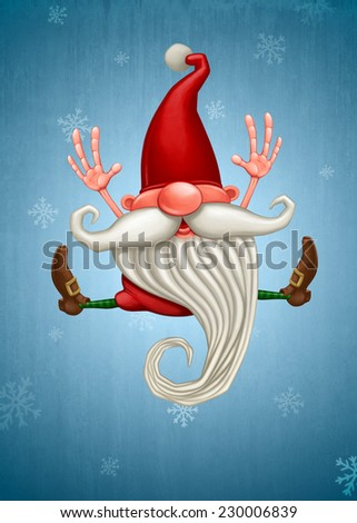 Happy Christmas elf jumping on snow flake background - stock photo