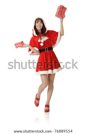 Happy Christmas girl, full length portrait isolated on white background. - stock photo