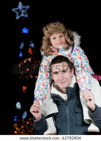 Happy Christmas night - stock photo