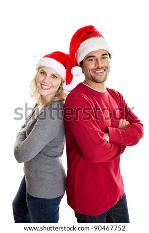Happy Christmas people back to back isolated on white - stock photo