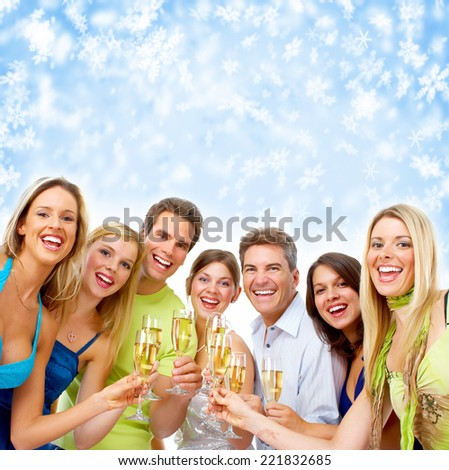 Happy Christmas people group drinking champagne. New year party. - stock photo