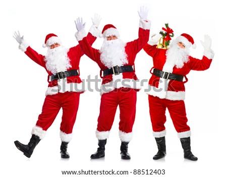 Happy Christmas Santa Claus group. Isolated on white background. - stock photo