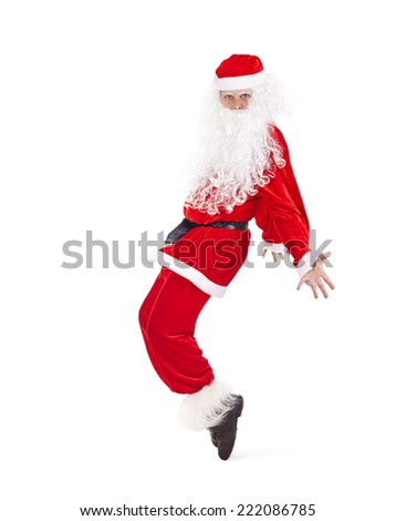 Happy Christmas Santa Claus having fun and dancing isolated on white background