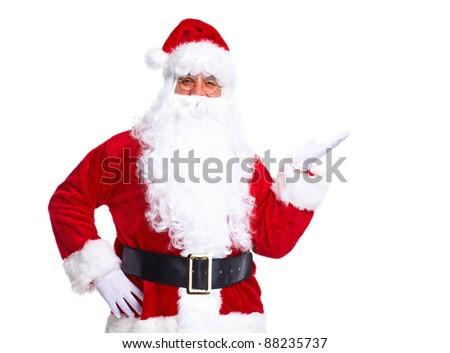 Happy Christmas Santa Claus. Isolated on white background. - stock photo
