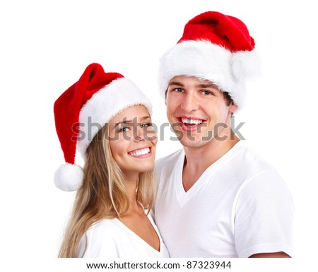 Happy Christmas santa couple. Isolated over white background.