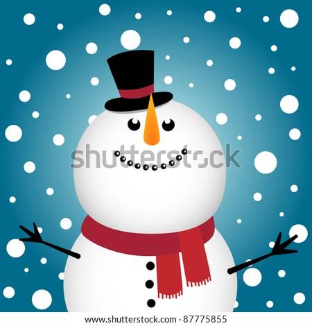 Happy Christmas snowman - stock photo