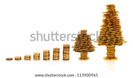 Happy Christmas tree made of golden coins, business metaphor - stock photo