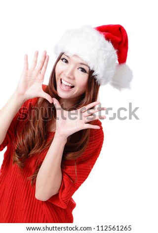 Happy Christmas woman excited say hello isolated on white background wearing red Santa hat. Beautiful Asian model. - stock photo