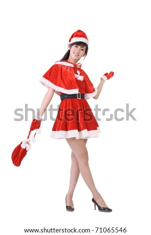 Happy Christmas woman of Asian rise one hand to show, full length portrait isolated on white. - stock photo
