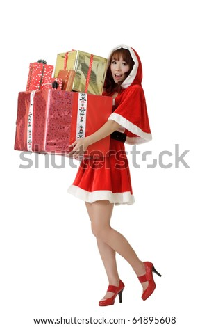 Happy Christmas woman with gifts isolated over white. - stock photo