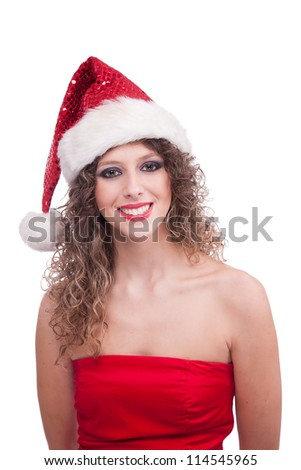 Happy christmas young woman, isolated on white background, studio shot.