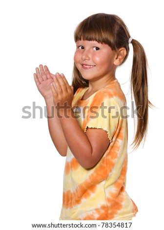 Happy clapping six years girl portrait isolated - stock photo